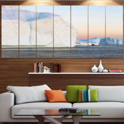 Designart Greenland Ices Of Polar Regions ModernSeashore Canvas Wall Art - 7 Panels
