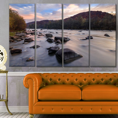 Designart Rocky Mountain River In Autumn SeashoreWall Art On Canvas - 4 Panels