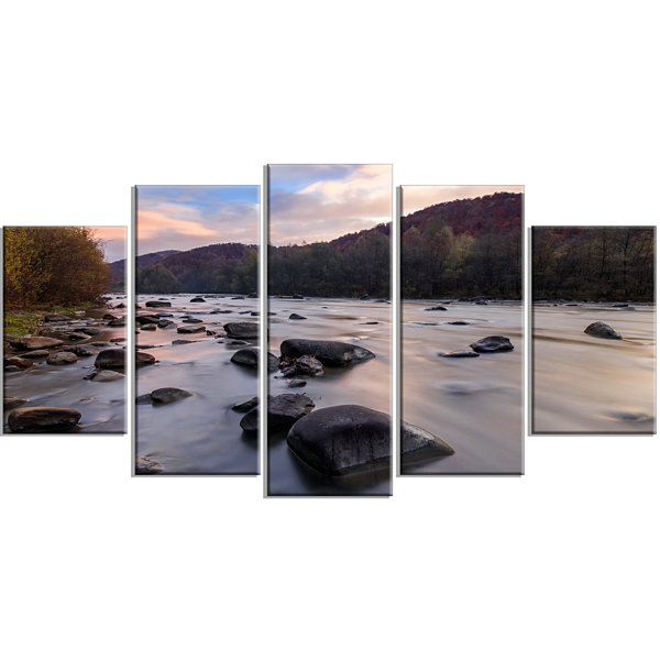 Designart Rocky Mountain River In Autumn SeashoreWall Art On Wrapped Canvas - 5 Panels