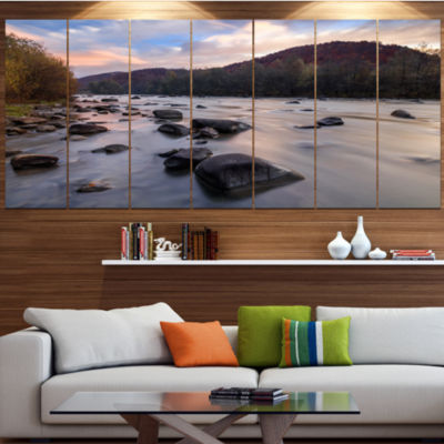 Rocky Mountain River In Autumn Seashore Wall Art On Wrapped Canvas - 5 Panels