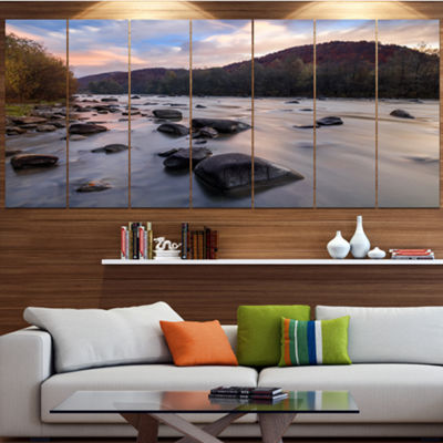 Designart Rocky Mountain River In Autumn SeashoreWall Art On Canvas - 5 Panels