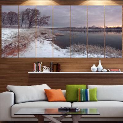 Design Art Winter River In Dark Morning Seashore Wall Art OnCanvas - 4 Panels