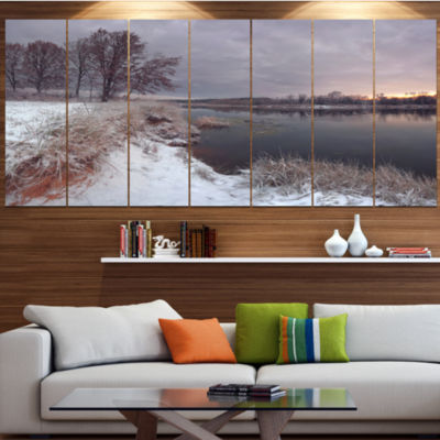 Design Art Winter River In Dark Morning Seashore Wall Art OnWrapped Canvas - 5 Panels