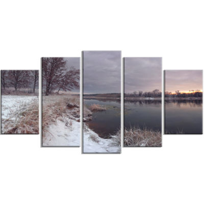 Designart Winter River In Dark Morning Seashore Wall Art OnWrapped Canvas - 5 Panels