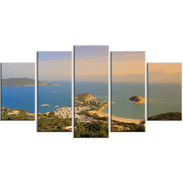 Designart Green Tropical Hiking Route Seashore Wall Art On Wrapped Canvas - 5 Panels