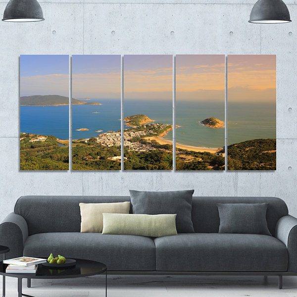 Design Art Green Tropical Hiking Route Seashore Wall Art On Canvas - 5 Panels