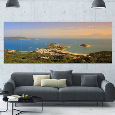 Designart Green Tropical Hiking Route Seashore Wall Art On Canvas - 6 Panels