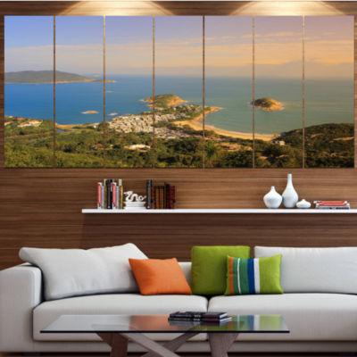 Designart Green Tropical Hiking Route Seashore Wall Art On Canvas - 7 Panels