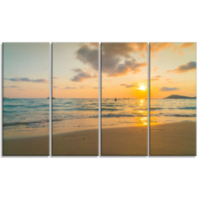 Stylish Blur Sunset Over The Sea Seashore Wall ArtOn Canvas - 4 Panels
