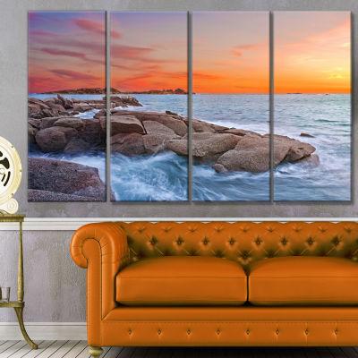 Designart Colorful Sunset At Rocky Seaside Seashore Wall ArtOn Canvas - 4 Panels