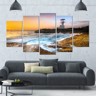 Designart Lighthouse On Beautiful Seashore Seashore Wall Art On Wrapped Canvas - 5 Panels