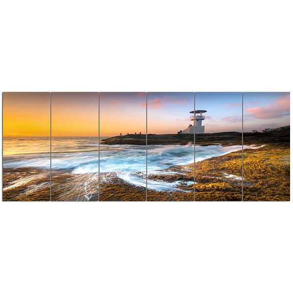 Design Art Lighthouse On Beautiful Seashore Seashore Wall Art On Canvas - 6 Panels