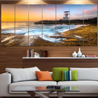 Designart Lighthouse On Beautiful Seashore Seashore Wall Art On Canvas - 7 Panels