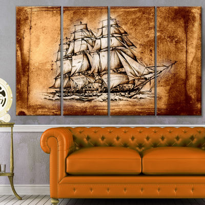Ancient Sailboat Drawing Seashore Wall Art On Canvas - 4 Panels