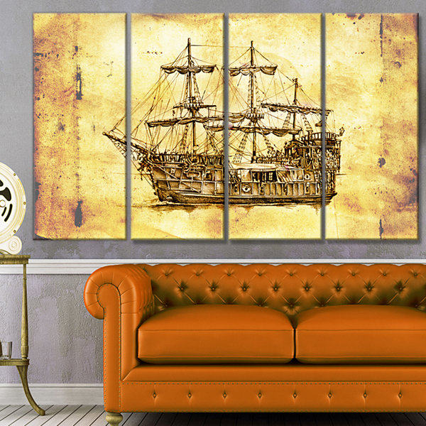 Design Art Old Travelling Boat Drawing Seashore Wall Art On Canvas - 4 Panels