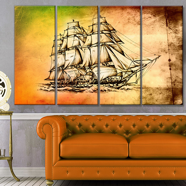 Designart Large Ancient Moving Boat Seashore WallArt On Canvas - 4 Panels