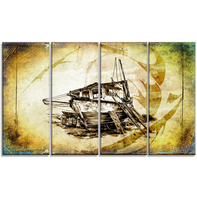 Designart Drawing Of Large Ancient Boat SeashoreWall Art OnCanvas - 4 Panels