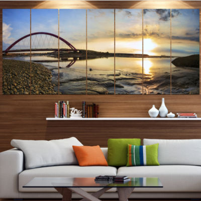Designart Bridge Sunset Panorama Seashore Wall ArtOn Wrapped Canvas - 5 Panels
