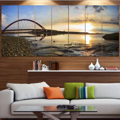 Designart Bridge Sunset Panorama Seashore Wall ArtOn Canvas- 5 Panels