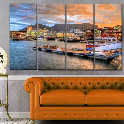 Designart Cape Town Waterfront At Sunset Modern Landscape Canvas Art - 4 Panels