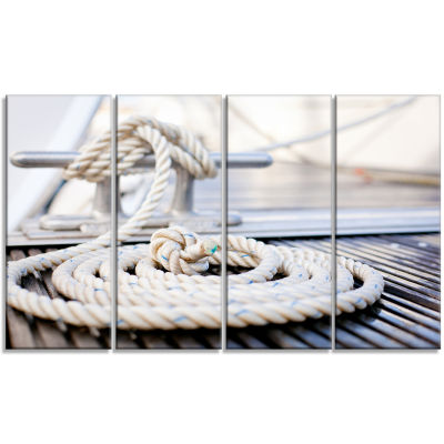 White Nautical Mooring Rope Modern Landscape Canvas Art - 4 Panels