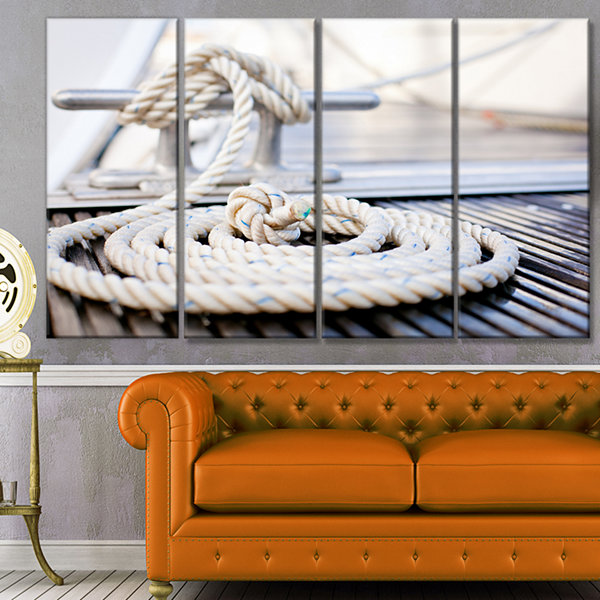 Designart White Nautical Mooring Rope Modern Landscape Canvas Art - 4 Panels