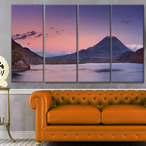 Designart Sunset At Mount Fuji And Lake Motosu Modern Landscape Canvas Art - 4 Panels