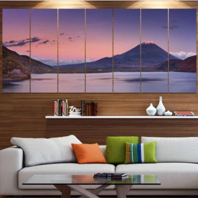 Designart Sunset At Mount Fuji And Lake Motosu Modern Landscape Wrapped Canvas Art - 5 Panels