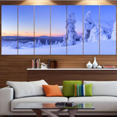Designart Sunset Over Frozen Trees Modern Landscape Wrapped Canvas Art - 5 Panels
