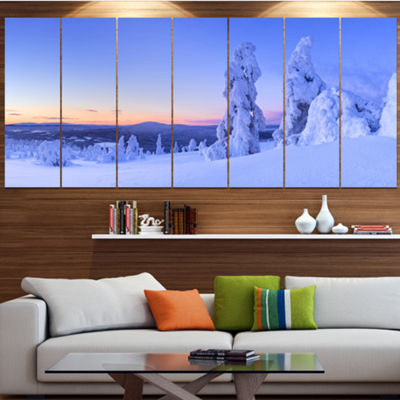 Designart Sunset Over Frozen Trees Modern Landscape Canvas Art - 5 Panels