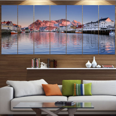 Designart Henningsvaer On The Lofoten Norway Modern Landscape Wrapped Canvas Art - 5 Panels