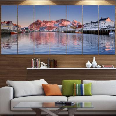 Henningsvaer On The Lofoten Norway Modern Landscape Canvas Art - 6 Panels