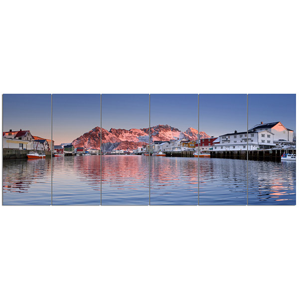 Designart Henningsvaer On The Lofoten Norway Modern Landscape Canvas Art - 6 Panels