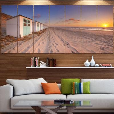 Designart Row Of Beach Huts At Sunset Modern Landscape Canvas Art - 4 Panels