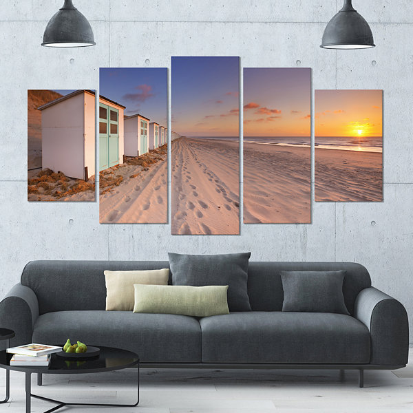 Designart Row Of Beach Huts At Sunset Modern Landscape Wrapped Canvas Art - 5 Panels