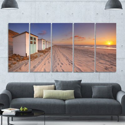 Designart Row Of Beach Huts At Sunset Modern Landscape Canvas Art - 5 Panels