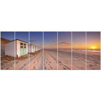 Designart Row Of Beach Huts At Sunset Modern Landscape Canvas Art - 7 Panels