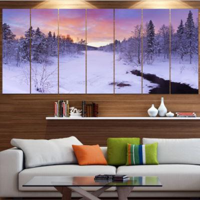 Winter River In Finnish Lapland Modern Landscape Canvas Art - 4 Panels