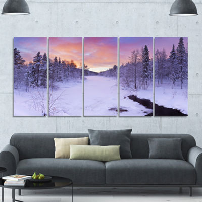 Designart Winter River In Finnish Lapland ModernLandscape Canvas Art - 5 Panels