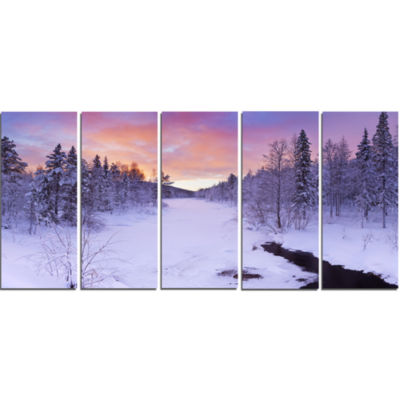 Winter River In Finnish Lapland Modern Landscape Canvas Art - 5 Panels