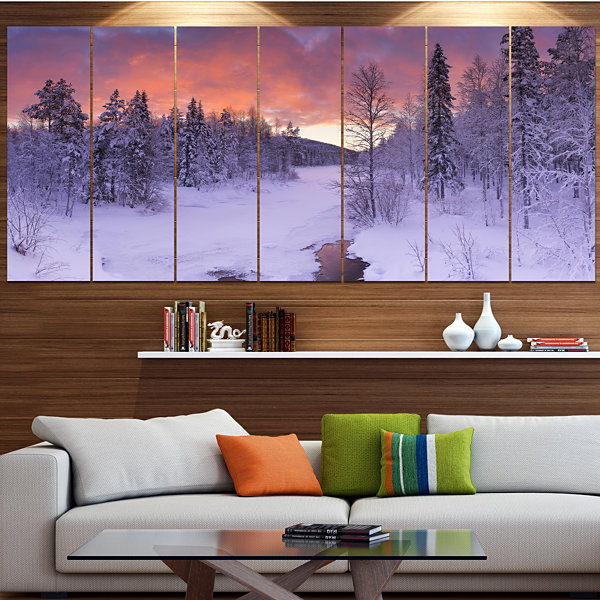 Designart Finnish Lapland Trees In Winter Landscape Wrapped Canvas Art Print - 5 Panels