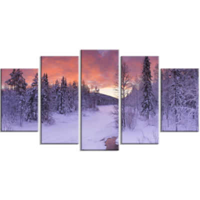 Finnish Lapland Trees In Winter Landscape WrappedCanvas Art Print - 5 Panels