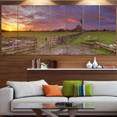 Designart Church Of Den Hoorn On Texel Island Landscape Canvas Art Print - 5 Panels