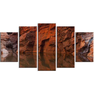 Designart Rock Wall Reflections In Gorge LandscapeWrapped Canvas Art Print - 5 Panels