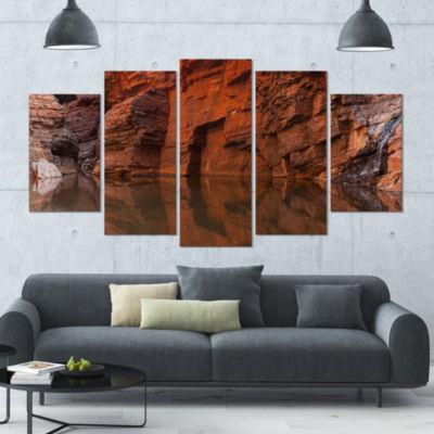 Designart Rock Wall Reflections In Gorge LandscapeCanvas Art Print - 5 Panels
