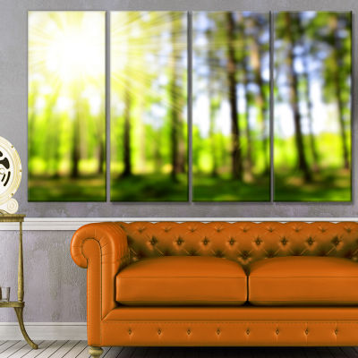 Designart Green Bokeh In The Forest Landscape Canvas Art Print - 4 Panels