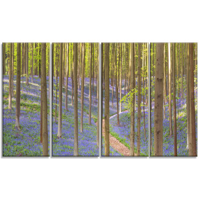 Blooming Bluebell Forest Panorama Landscape CanvasArt Print - 4 Panels