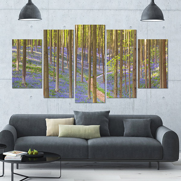 Design Art Blooming Bluebell Forest Panorama Landscape Wrapped Canvas Art Print - 5 Panels