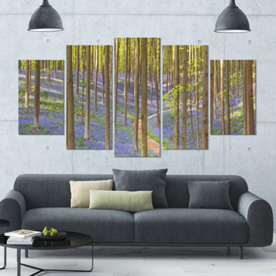 Designart Blooming Bluebell Forest Panorama Landscape Wrapped Canvas Art Print - 5 Panels