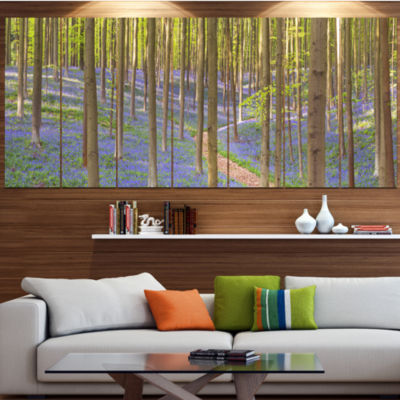 Designart Blooming Bluebell Forest Panorama Landscape Canvas Art Print - 5 Panels